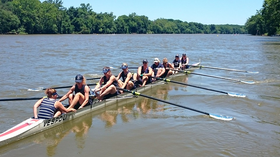 High Point's crew makes final preparations before winning the women's Master's Eights Championship at the James River Sprints in Midlothian, VA on June 18, 2016.