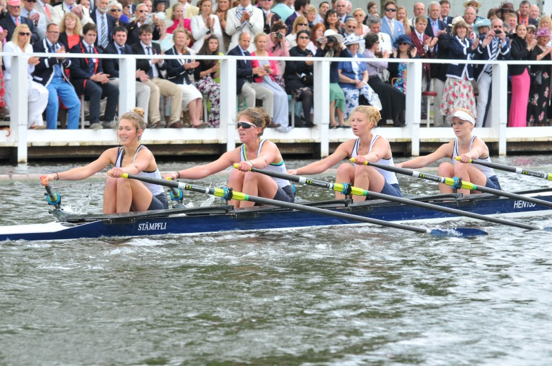 The Diamond Jubilee Challenge Cup is raced by junior women in quad sculls at Henley Royal Regatta.