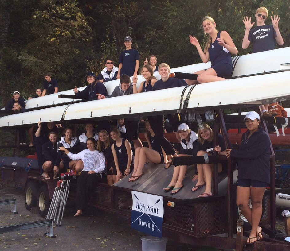 High Point rowers load the shell trailer following a successful campaign at the 2013 Head of the Hooch in Chattanooga, Tenn.