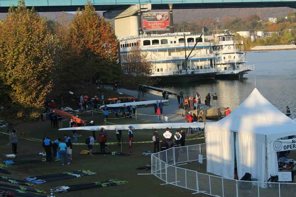Prepare for launch: a High Point crew carries its shell to the dock in Chattanooga, Tenn for the 2013 Head of the Hooch.