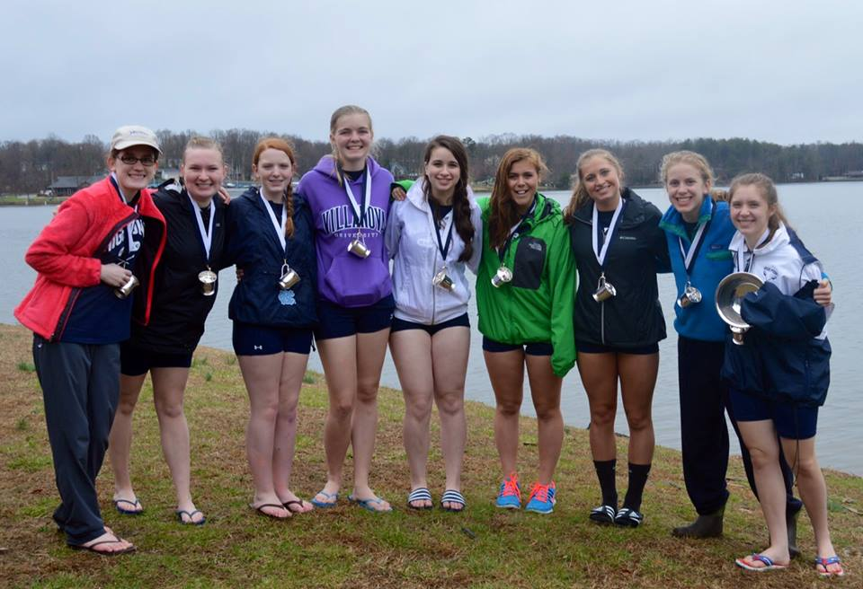 High Point's crew of coxswain Aine Mills, stroke Alice Nafekh, Addy Millsap, Victoria Goldin, Rebecka Lassiter, Junior Ognovich, Hadley Copeland, Kate Wenger, and Margaux Blanchard won the Second Division Novice Eights title in a photo finish with Triangle Rowing Club.