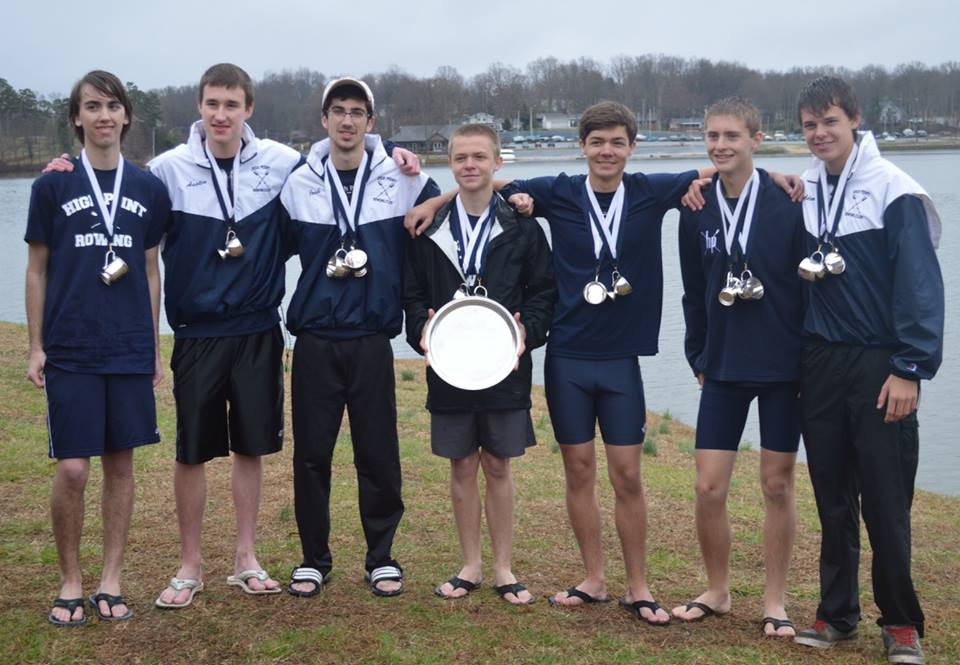 High Point oarsmen Andrew Wright, Colin Howard, Josh Dasnoit, and Adam Alt won the Novice Fours event at the 2014 High Point Regatta and then teamed up with James Bennett, Henderson Beck, Austin Young, and Ryan Kurtiak to win the Novice Eights title.