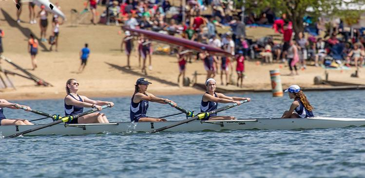 Abbey Lowdermilk, Maddie Mullins, Bethany Brake, and coxswain Kiki Davis lead High Point's novice women's eight to a program best fourth place result at the Clemson Sprints. High Point finished 5th in this event in 2013.
