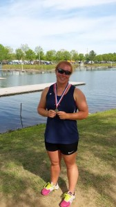 High Point's Katie Ognovich is all smiles after recording the fastest time in the Women's Youth Single Sculling final at the Dogwood Regatta in Oak Ridge, TN.