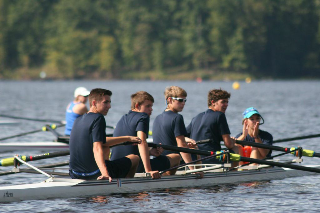Olivia Corriere steered High Point's varsity four to a 2 second victory in the closest race of the day over Triangle Rowing Club. Her crew was comprised of bowman Kyle Koval, Adam Alt, Colin Howard, and Andrew Wright.