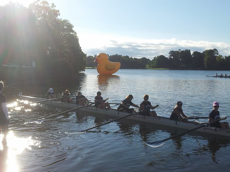 High Point's Masters Women's Crew launches their shell on Oak Hollow Lake.