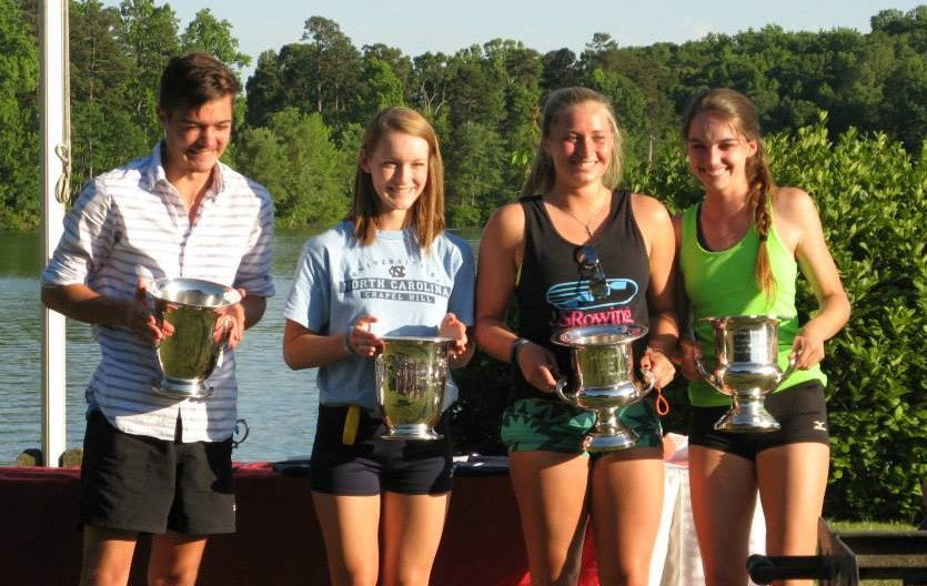 High Point Rowing Club sent off its 2015 seniors Andrew Wright, Bethany Brake, Addy Millsap, and Kim Pollard with commemorative silver champagne buckets at the Spring Crew Banquet.