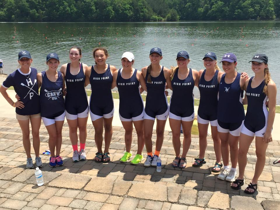 Coach Allie Davis with her crew of Bethany Brake, Victoria Goldin, Aliute UDoka, Junior Ognovich, Maddie Mullins, Addy Millsap, Emma Lloyd, Jaclyn Hronich, and Kim Pollard concluded a historic season for High Point Rowing Club with a fourth place finish in the Girls Youth Eight at USRowing's Southeast Regional Championships.
