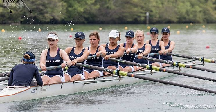 Jacqueline 'Junior' Ognovich helps power her women's varsity crew from the six-seat (third from left).