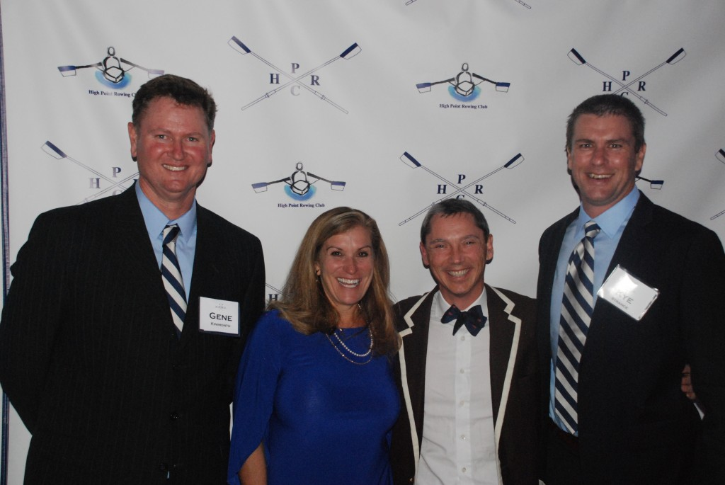 Crew board directors Gene Kininmonth, Mary Hollingsworth, and Kye Strance with guest speaker Misha Joukowsky at the 2015 Celebration of Rowing banquet.