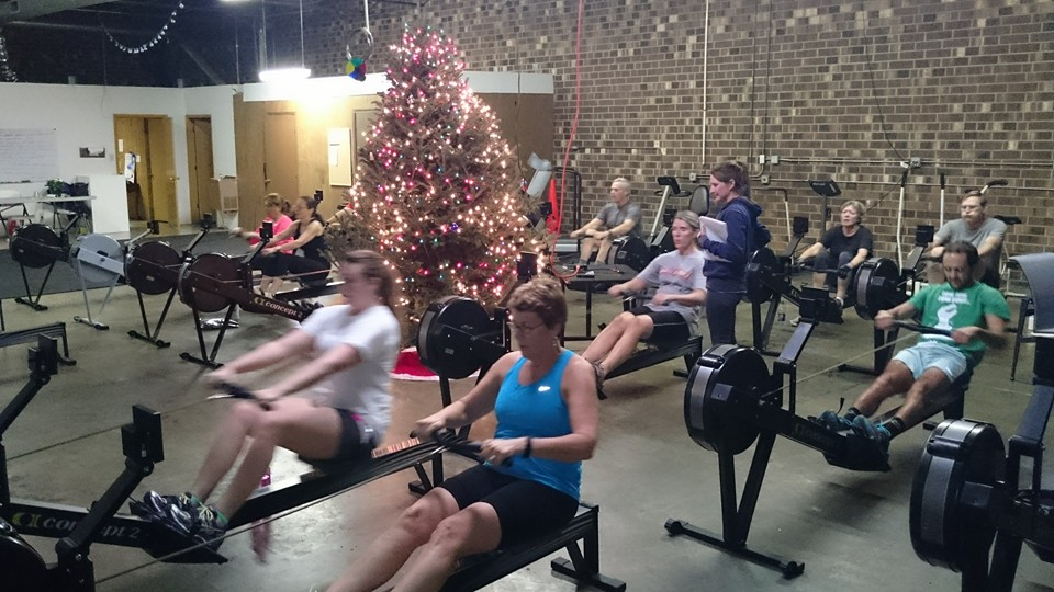 It is a holiday treat to erg around the Christmas tree at High Point Rowing Club's indoor rowing studio in Jamestown.