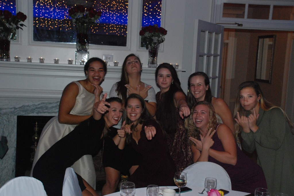High Point Rowing Club women's youth eight crew at the 2015 Celebration of Rowing banquet.