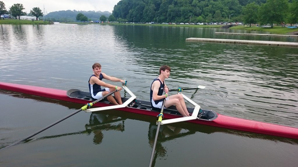 Kevin Capps and Austin Young launch for the lightweight double sculls boat race.