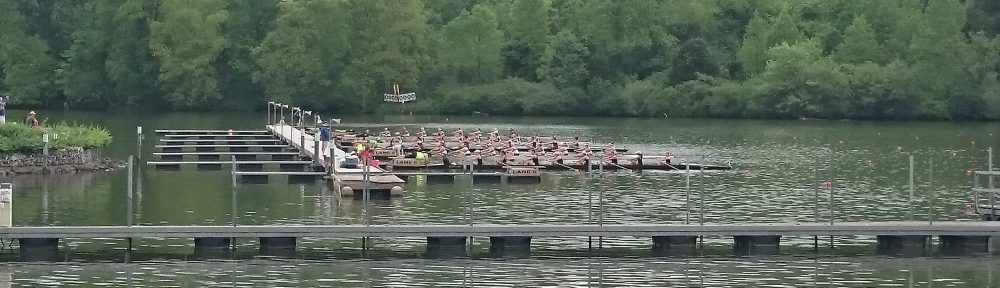 High Point lines up for the Women's Division III varsity eights on Saturday. The event was the last before thunderstorms caused a delay in racing.