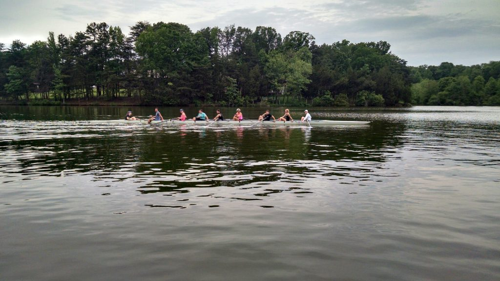 High Point rowers challenge for the York Cup on Oak Hollow Lake on May 9, 2016.