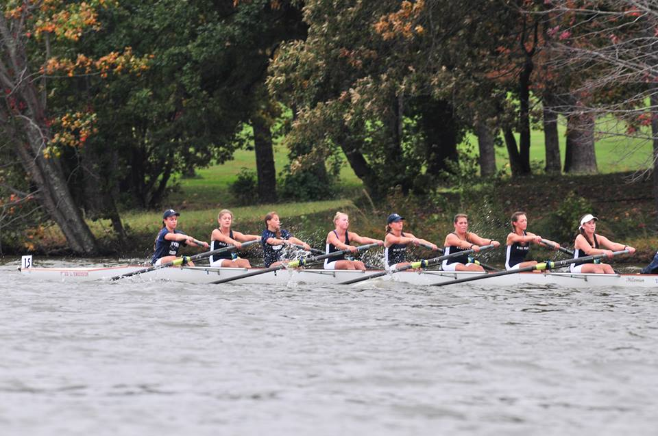 High Point powers to victory in the Division I youth women's eights at the 2015 High Point Autumn Rowing Festival.