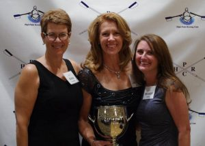 Former Masters MVPs Erin Sanders and Mandy Greene presented the 2016 MVP Cup to Jackie King (center).